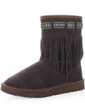 Coffee Cow Leather Tassels Womens Flat Snow Boots