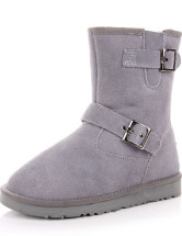 Grey Cowhide Buckle Mid Calf Women's Snow Boots