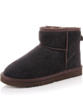 Coffee Cowhide Flat Women's Snow Booties