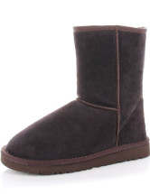 Coffee Cowhide Mid-Calf Women's Snow Boots