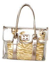 Cool Transparent Khaki 38*12*29cm PU Womens Tote