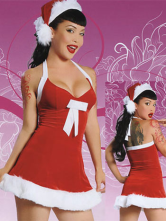 Red White Fur Trimmed Halter Santa Sexy Christmas Costume