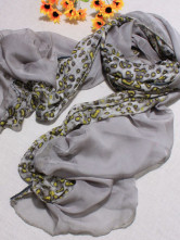 Green Leopard Pattern 100% Terylene 182*65cm Womens Fashion Scarf