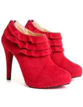 "Red 4 1/10"" Multi-Layer Flannel Womens Ankle Boots"