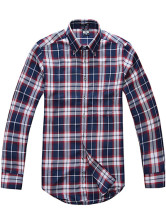 Red Blue Plaid Pattern Quality 100% Cotton Mens Casual Shirt