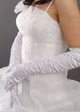 Ivory 55*10cm Pleated Above Elbow Length Satin Bridal Wedding Gloves
