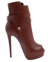 5 1/2'' High Heel Red Sheepskin Buckle Women's Booties