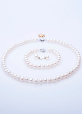 White 7.5-8.5mm Fresh Water Pearl Necklace Bracelet Earrings Jewelry Set