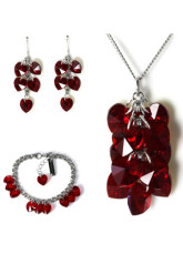 Alice Dreams Dark Red Swarovski Crystal Jewelry Set