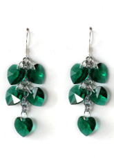 Gorgeous Dark Green Heart Shaped Crystal Earrings