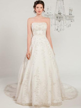Ivory Rococo A-line Strapless Net Beading Wedding Dress