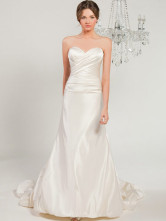 Beautiful White Rococo A-line Sweetheart Satin Wedding Dress
