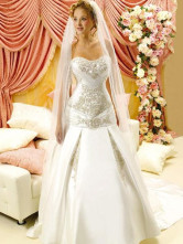 White Rococo Mermaid Trumpet Sweetheart Satin Wedding Dress