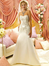 Ivory Sweetheart Mermaid Trumpet Rococo Satin Embroidery Wedding Dress