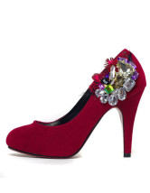 Red Mixed Leather Rhinestone Decoration Wedding Bridal Pump Shoes