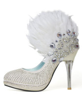 White Satin Rhinestone Feather Decoration Bridal Shoes
