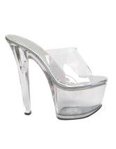 6 7/10'' High Heel Clear Glazed PU Clear PVC Sexy Sandals