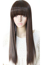 Beautiful 70cm Brownish Black Neat Bang Straight Nylon Womens Fashion Wig