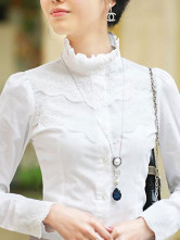 Elegant White Stand Collar Long Sleeves Satin Lace Shirt
