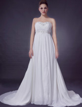 Euro Style Ivory Empire Waist Sweetheart Beading Chiffon Wedding Gown