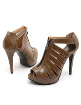 Fabulous 4 1/10'' High Heel Brown PU Fashion Sandals