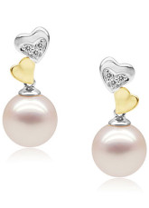 Fabulous Pink 14K White Gold 9-9.5 mm Round Freshwater Pearl Womens Earrings