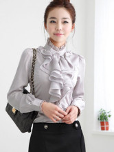 Gorgeous Gray Stand Collar Ruffles Long Sleeves Imitated Silk Shirt
