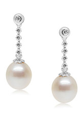 Grand blanc 14 K White Gold 9-9,5 mm Waterdrop boucles d'eau douce perles naturelles Diamond Womens d'