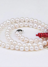 Qualità donne bianche 42 centimetri 6-7mm Freshwater Pearl Necklace AA per le donne