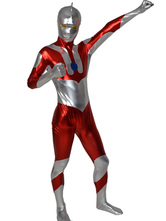 メタリック全身タイツ ユニセックス 大人用 シルバー&レッド ボディースーツ コスチューム衣装