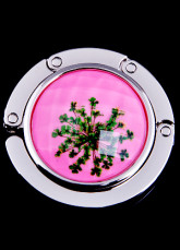 Znic Nickel Milky Spots Acrylic Around 45mm Pink Purse Hanger