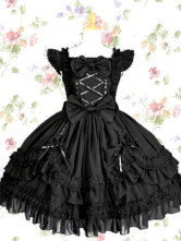 Black Bows Ruffle Lace Cotton Gothic Lolita Dress