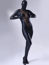 Marvellous Black Shiny Metallic Lycra Female Zentai Suit