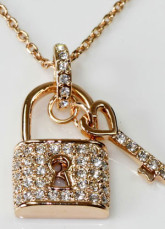 Coeur Swarovski Crystal Love Lock collier plaqué or