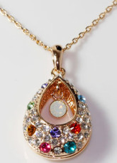 Larme Collier Swarovski Crystal Plaqué or