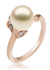 18K Rose Gold Pink Freshwater Pearl Ring For Women