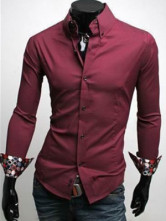 Attractive Wonderful Formal Red 100% Cotton Long Sleeves Mens Shirt
