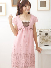 Beautiful Pink Cotton Summer Maternity Dress