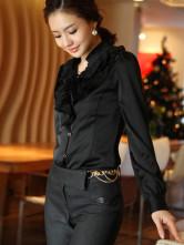 Черного шифона атласная длинными рукавами женская Топ Пуловер.