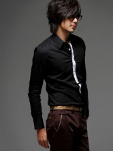 British Style New Arrival Fake Tie Designed Long Sleeve Shirt Black.