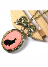 Classic Copper-colored Alloy Bowknot Animal Pendant Necklace For Women