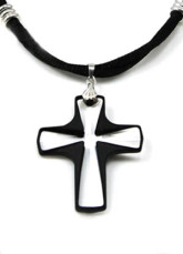 Mode Me Black Croix d'Argent Sterling Swarovski Crystal Necklace