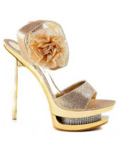 Golden 4'' High Heel Platform Fashion Shoes