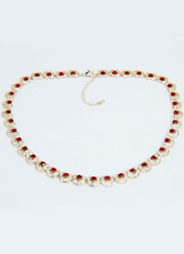 Great Red Silver Alloy Swarovski Crystal Necklace For Women