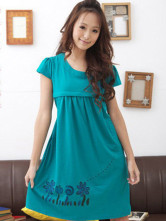 Green 100% Cotton Short Sleeves Maternity Skirt