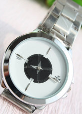 Handsome White And Silver Analogue Mechanical Stainless Steel Alloy Men's Watch