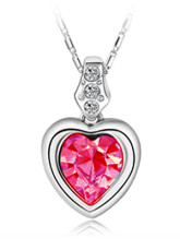 Classic Red Swarovski Crystal Alloy Heart Shaped Ladies Necklace