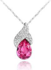Cute Modern Red Alloy Swarovski Crystal Womens Necklace