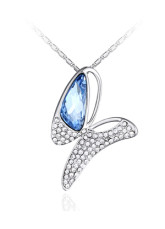Elegant Blue Romantic Swarovski Crystal Alloy Womens Necklace