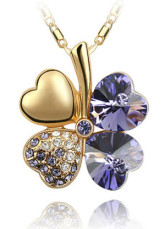 Gorgeous Purple Clover Womens Alloy Swarovski Crystal Necklace
